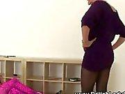 British mature femdom dominates a teen in pantyhose