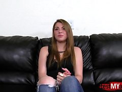Brunette teen rimjob and creampie