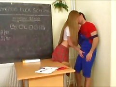 Schoolgirl sucks cock and balls