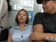 Sexy lady cop sucks off some slutty stranger in public
