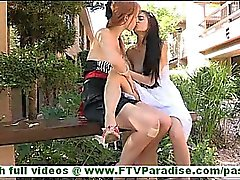 Tamara and Lacie lovely amateur lesbian couple kissing and licking tits and pussy outdoors