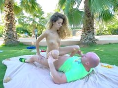 Tattooed cowgirl moans as her tight pussy gets pounded outdoors