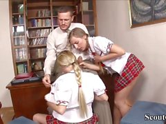 Monster Cock Teacher Fuck two School-Teens Lucy and Cat