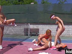 Kinky babes masturbate on the tennis court