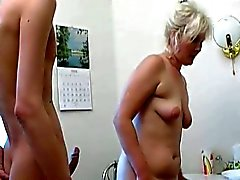 Nasty cum eating blonde milf entices horny young cock