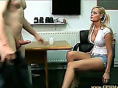CFNM euro blonde teen jerks off dude