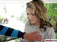 Hot stepsister Summer Lace receives a warm creampie