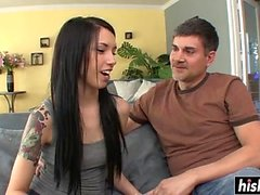 Tattooed chick pleases a stiff shaft