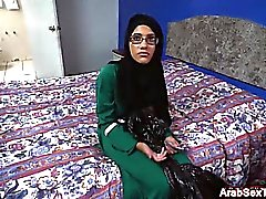 Slim Arab chick blowjobs cock for cum