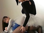 Young babysitter gets strap on fucked