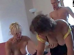 Mature orgy party features young guys