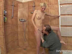 Lewd Stepdad Shower Fucks Stepdaughter