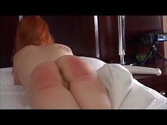 girl gets the cane in her bedroom