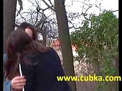 Two teen girls licking outdoor