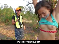 PunishTeens Ebony Teen Tied Punished And Fucked