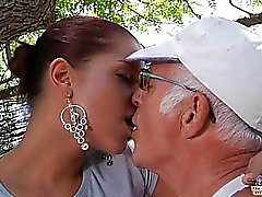 Oldman fucks anal his sexy much younger girlfriend