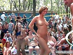 Huge party outdoor becomes really nasty