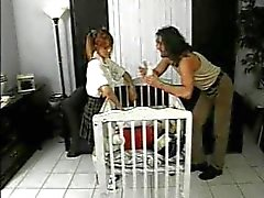 Men fuck the naughty babysitter slut
