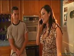 Mom in nylons takes young boner
