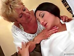 Old and young lesbians enjoy oral in a compilation video