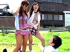 Japanese Sluts Tease A Guy They Find