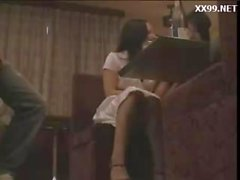 Drunk girl threesome molested by geek in restaurant 01