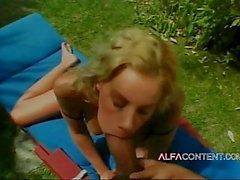 Busty blonde teen enjoys outdoor fuck and big dick