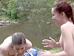 Young Australian lesbians naked outdoors boating