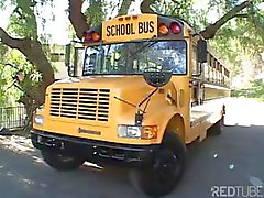 Sweet young blonde student sucks and fucks the school bus driver