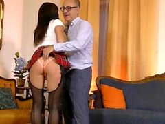 Teen amateur doggystyled by old man