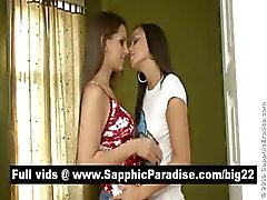 Lovely brunette lesbias kissing and licking nipples and having lesbian love