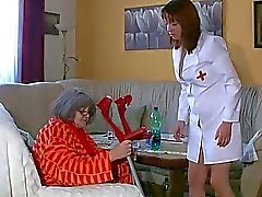 Lesbian granny and nice woman masturbating together, water games