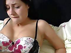 Busty German brunette hot fuck on the couch