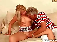 Old man fucks a hot young blonde