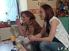 Two young french lesbians strapon dildo fuck