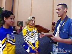 These cheerleaders share a dick