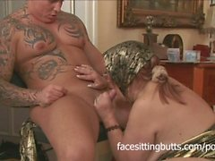Horny old lady masturbates and fucks a tattooed stud on the floor