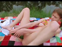 Teen Beata Outdoor Pee & Cucumber Fucking