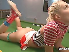 Awesome blonde lay on a pool table shows part6