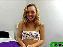 Blonde teen blows her boyfriend and rides on his dick