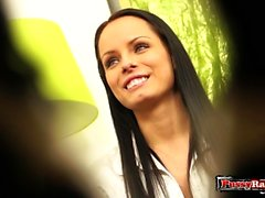 Brunette pornstar blowjob and cumshot