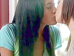 Hot lesbian teens licking and scissoring