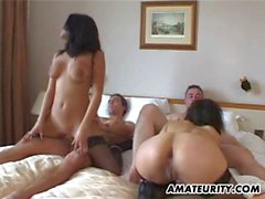 Amateur group sex foursome with facial shots