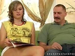 Teen enjoys hard sex with an older man