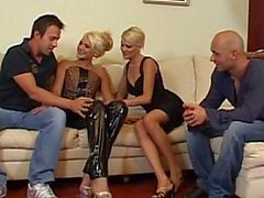 Two hot blonde Europeans and two cocks