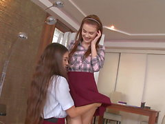 Tutor in stockings threesome with husband and student