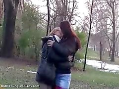 Old and young lesbians making out part4