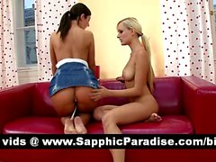 Debbie and Bianka blonde and brunette lesbians fingering and licking pussy and having lesbian sex