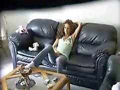 Hidden camera caught teen chick masturbating on a couch