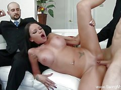 Gorgeous brunette gets her pussy nailed